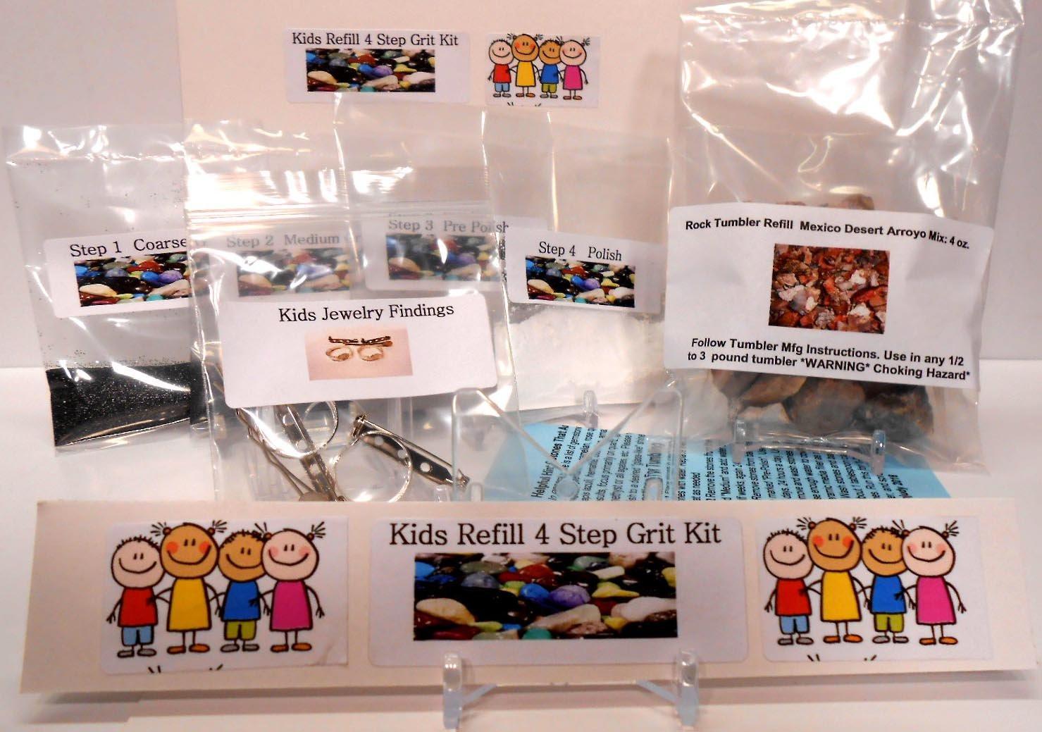 Amazon Kids Kidz Gritz Refill Rock Tumbler Grit Kit Polishes