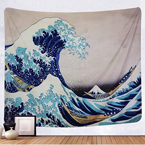 Amazon Com Tenaly Tapestry Wall Hanging Great Wave Kanagawa Wall Tapestry With Art Nature Home Decorations For Living Room Bedroom Dorm Decor In 51x60 Inches Home Kitchen