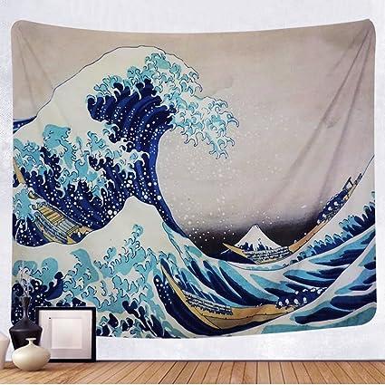 Amazoncom Tenaly Tapestry Wall Hanging Great Wave Kanagawa Wall