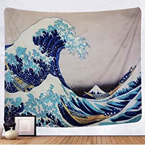 TENALY Tapestry Wall Hanging, Great Wave Kanagawa Wall Tapestry with Art Nature Home Decorations for Living Room Bedroom Dorm Decor in 59.1x78.7 Inches…
