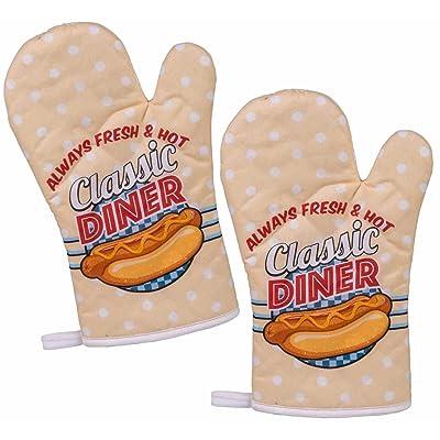 'Lot de 2gants de cuisine/barbecue/Back Gants Gants de four/Gants de Cuisson/Cuisine Gants avec rétro/Vintage Impression Hot Dog–Diner Classic