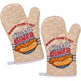 "2er Set Topfhandschuhe / Grillhandschuhe / Backhandschuhe Ofenhandschuhe / Kochhandschuhe / Küchenhandschuhe mit Retro / Vintage Druck ""Hot Dog - Classic Diner"""