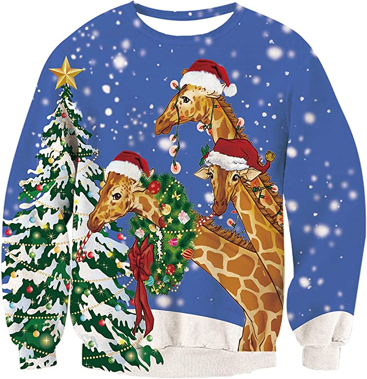 Men Women Ugly Christmas Sweater Pullover Sweatshirts 3D Elf Boobs Long Sleeve