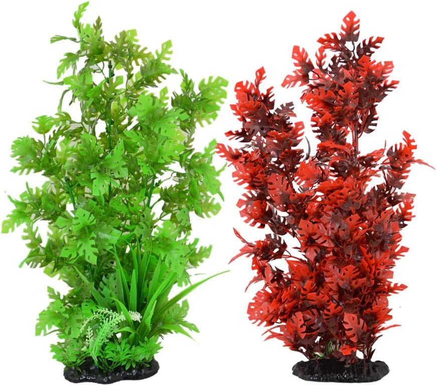 CNZ 2-Pack Aquarium Decor Fish Tank Decoration Ornament Artificial Plastic Red/Green 15-inch Tall