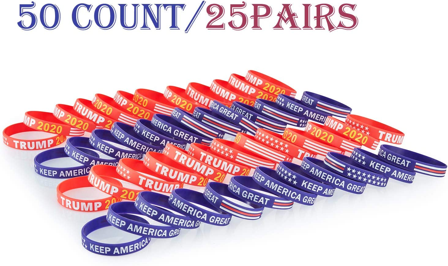 BRANDWINLITE TRUMP2020,Keep America Great,Pesidential Election Custom Made Rubber Silicone Bracelets Wristbands with American Flag