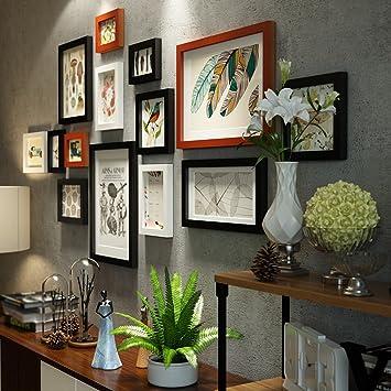 Bilderrahmen Collage 14 Rahmen Massivholz schwarz und weiß ...