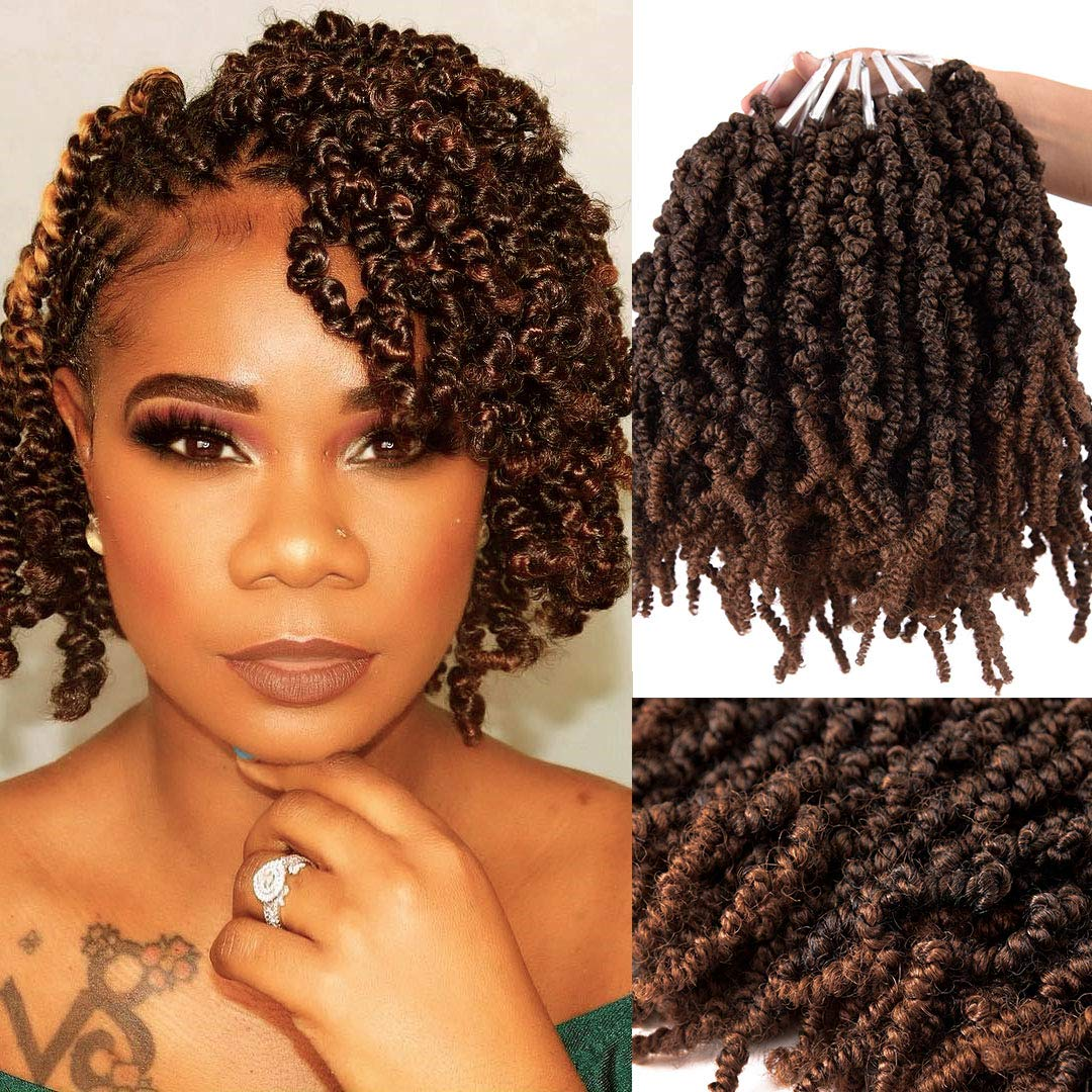 Amazon Com 3 Packs Short Curly Spring Pre Twisted Braids Synthetic Crochet Hair Extensions 10 Inch 15 Strands Pack Ombre Crochet Twist Braids Fiber Fluffy Curly Twist Braiding Hair Bulk T1b 30 Beauty