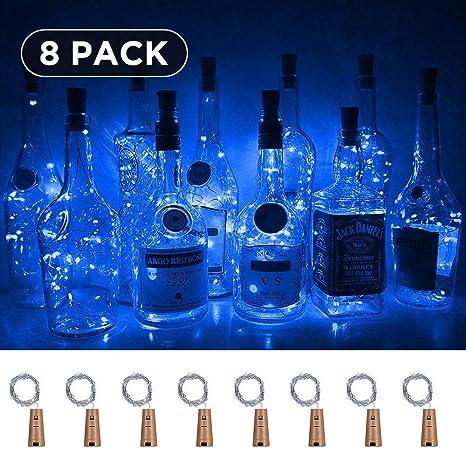 Qedertek 8 Pack Luces LED de Botella, 2M 20 LED Guirnalda Luces a Pilas, Habitacion Luces de Navidad, Micro Luces de Cadena de Alambre de Cobre, Luz ...