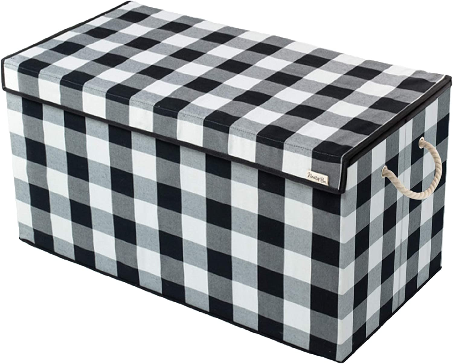 Nest & Be X-Large 30-inch Toy Storage Chest - Collapsible, Buffalo Plaid, Durable Sides w/Divider, and Attached, Flip-Top Lid. For Home Organization, Nursery, Kids playroom, Pet items, Closet: Home Improvement