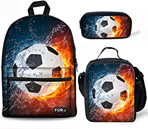 FOR U DESIGNS Teens Backpack Set 3 Piece Soccer Canvas Boys School Bags,Lunch Bags,Pencil Box 3 in 1