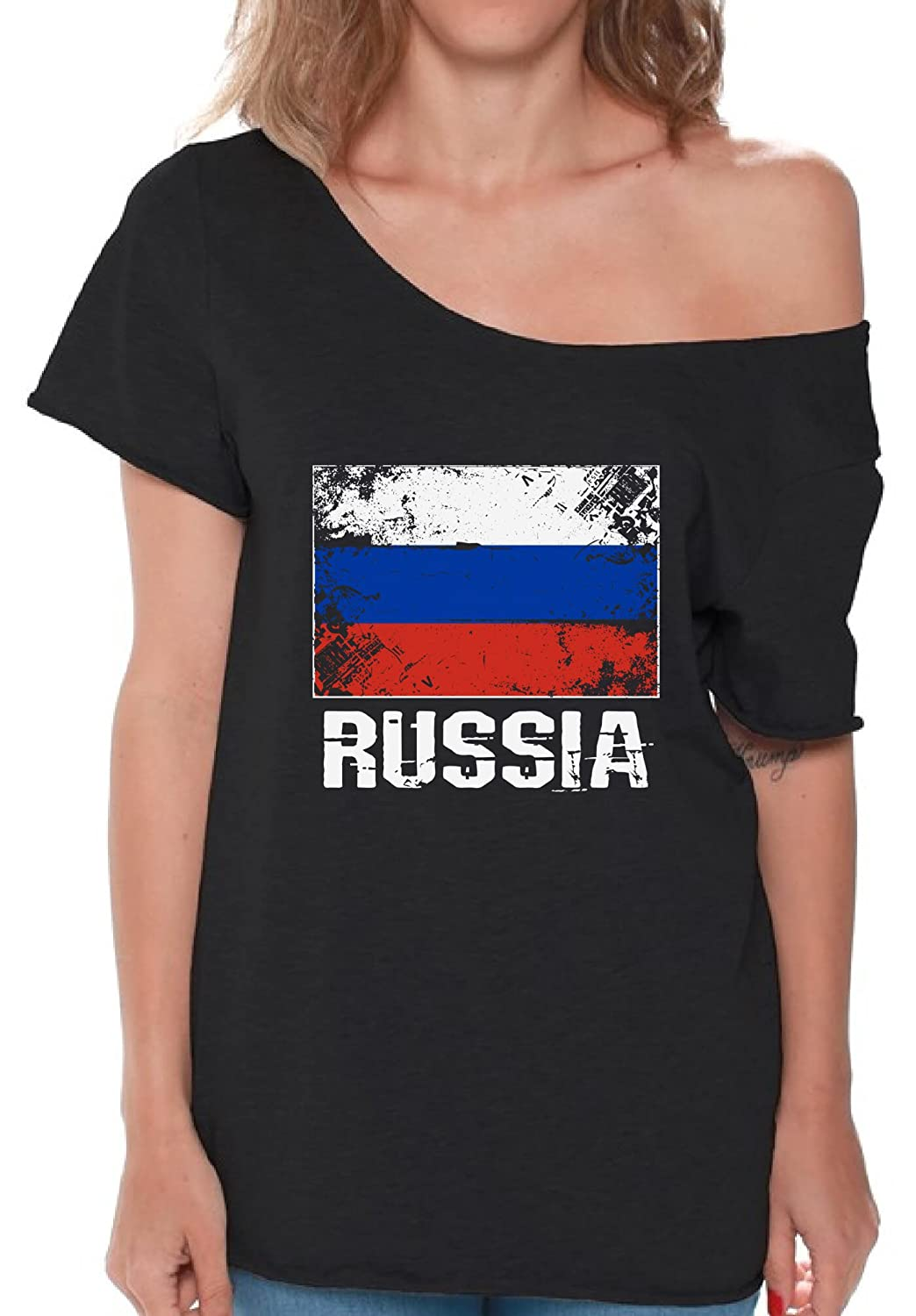 Amazon Com Pekatees Russia Off Shoulder Shirt Russian Flag Baggy