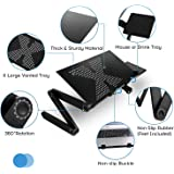 Adjustable Laptop Stand Portable Laptop Table with Stand Tray as Mouse Board and 2 Cooling Fans for Notebook/MacBook Foldable Lightweight Ergonomic Standing Desk Using in Office & Bed & Sofa