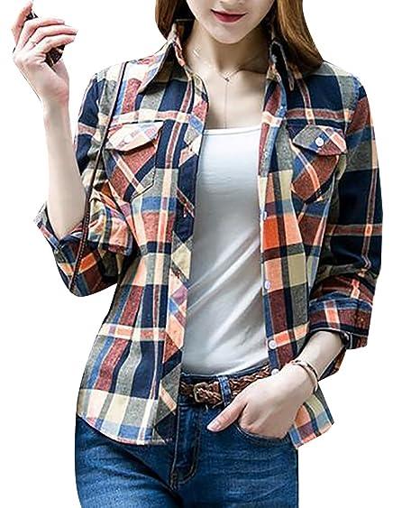 d655fd7b2 Pandapang Womens Classic Plaid Slim Casual Cotton Button Down Shirts Black  XXS