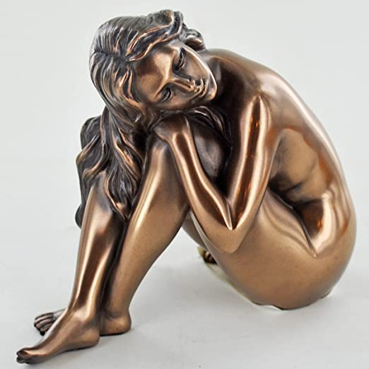 Art Deco Bronzed Resin Kneeling Erotic