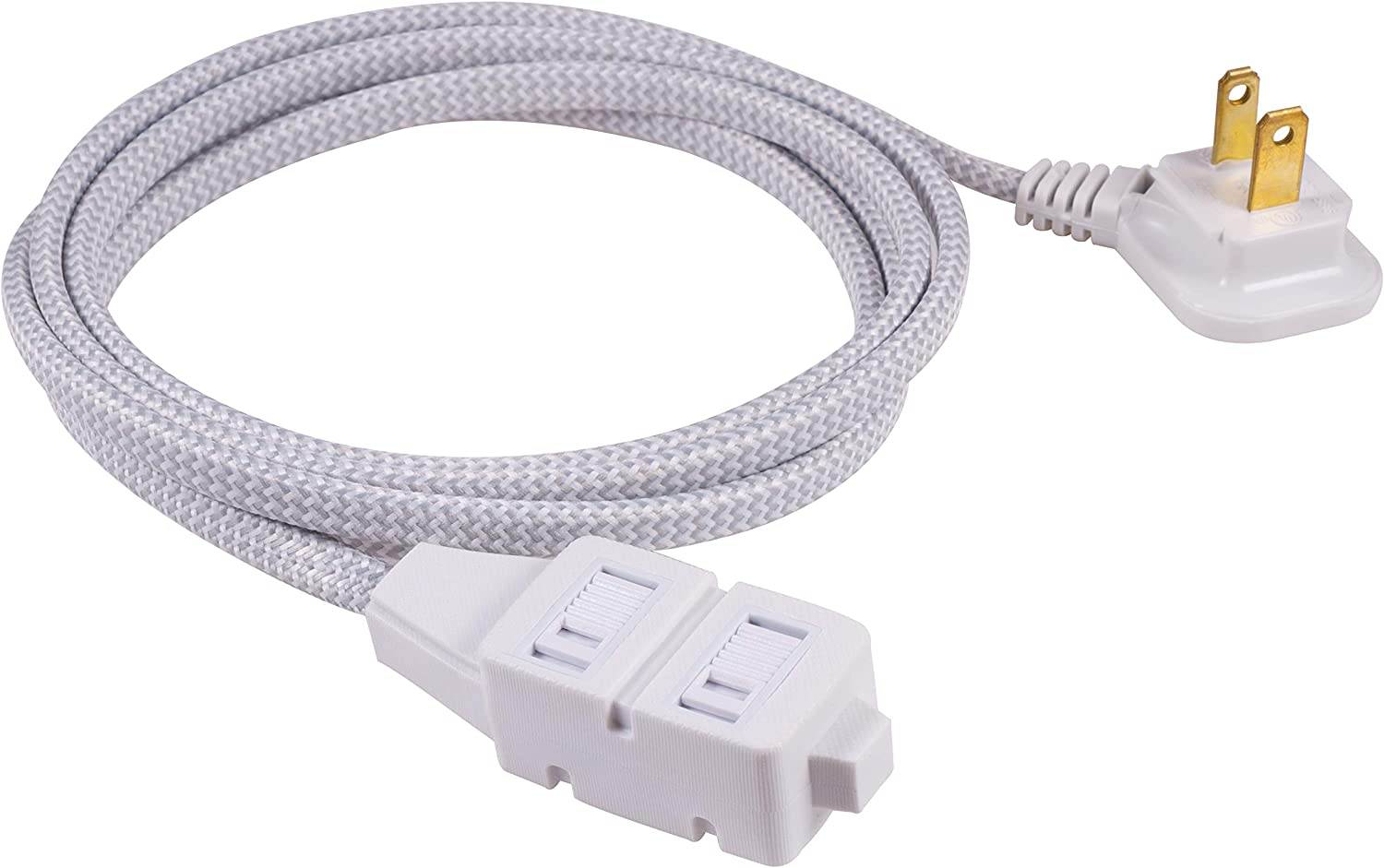 GE, Gray & White, 6 Ft Designer Braided Extension, 3 Strip, 2 Prong Outlets, Flat Plug, Tangle-Free Power Cord, Perfect for Home, Office or Kitchen, UL Listed, 42383