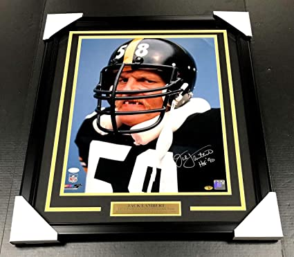 7242b35d840 Jack Lambert Autographed Signed Framed 16x20 Photo JSA COA Pittsburgh  Steelers