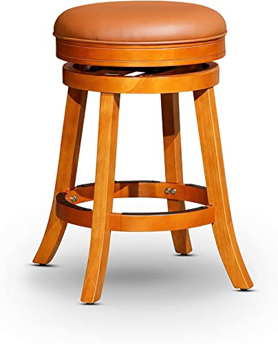 DTY Indoor Living Creede Backless Swivel Stool, Natural Finish 24 Counter Height, Saddle Leather Seat