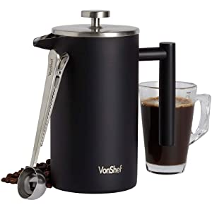 VonShef 34oz Stainless Steel French Press with Spoon, Matte Black, Double Walled Cafetiere/Filter Coffee Maker With Coffee Measuring Spoon