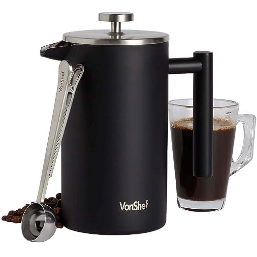 VonShef Cafetiere de Acero Inoxidable de 1L con cuchara - Cafetera ...