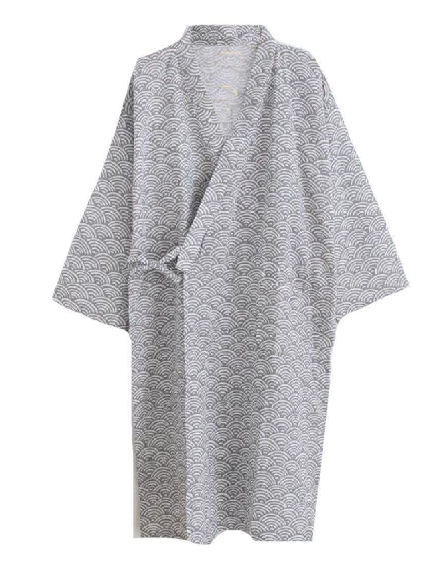 Coolred-Men Fine Cotton Chevron Wrap-Front Loungewear Kimono Robe Grey M