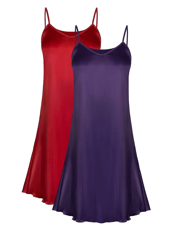 Genuwin 2 Pack Women/'s Satin Full Slip Dress Chemise Sleepshirt Nightgowns for Women S~2XL