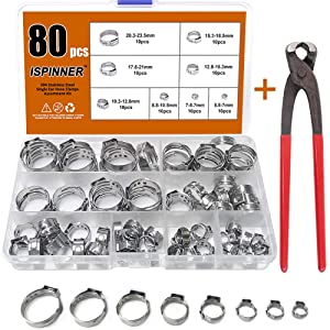 """ISPINNER 80pcs 304 Stainless Steel Single Ear Stepless Hose Clamps with Pincers, 5.8-23.5mm Cinch Clamp Rings Assortment Kit 1/4"""" - 15/16"""""""
