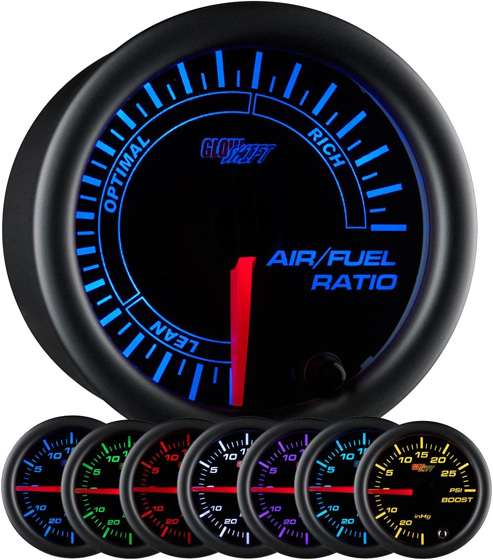 Smoked Lens 2-1//16 52mm GlowShift Gauges GS-T702-SM Black Dial GlowShift Tinted 7 Color Narrowband Air//Fuel Ratio AFR Gauge 2-1//16 52mm Optimal /& Rich Readings Optimal /& Rich Readings Smoked Lens Lean Black Dial