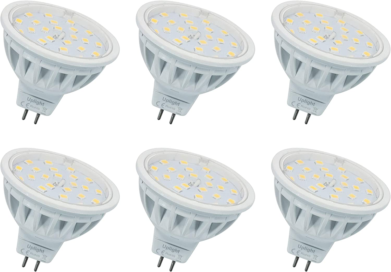5.5W MR16 LED Bombillas Gu5.3 Destacar,Blanco Cálido 3000K,Equivalente 60W Luz Halógena,Ra85 600LM DC12V,6 Piezas.