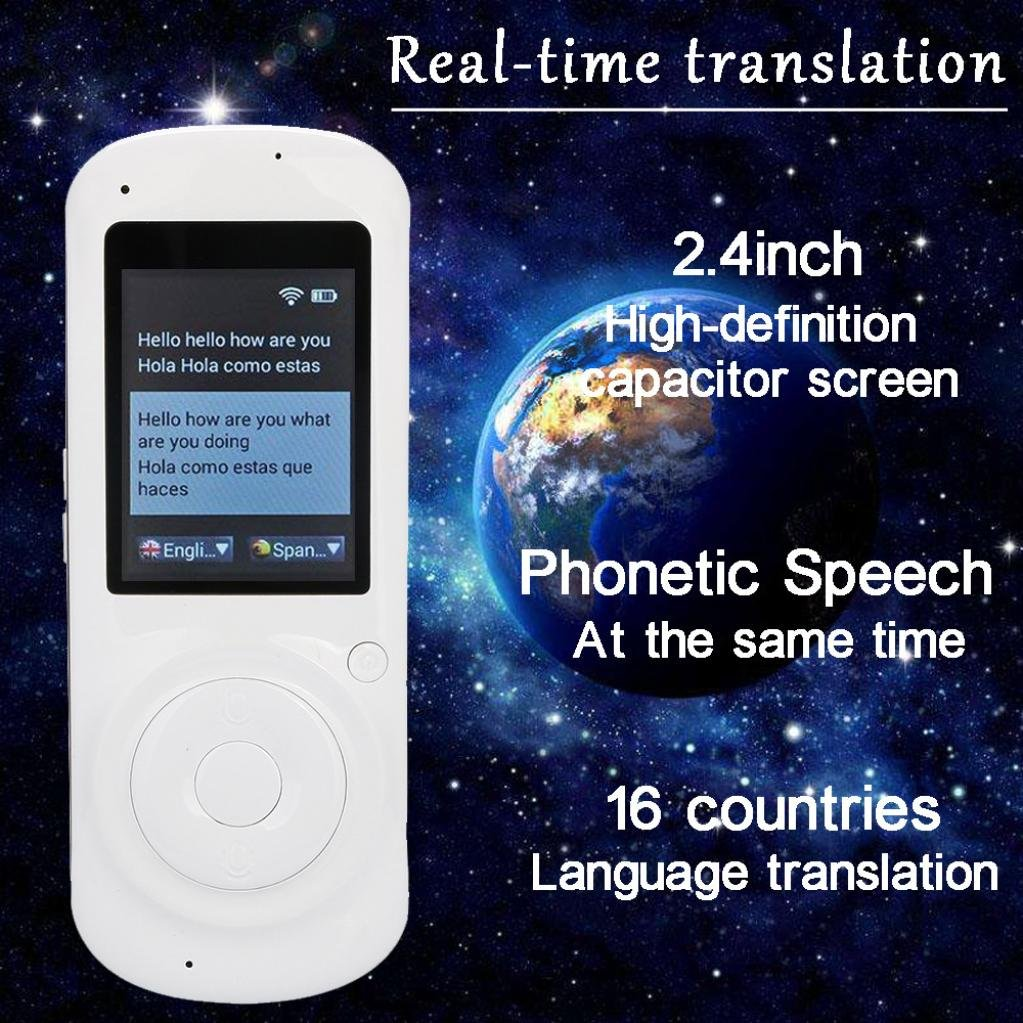SUKEQ Intelligent Voice Translator, Real Time Voice Two Way WIFI 2.4 Inch IPS 16 Languages Electric Smart Translator Device Capacitive Touch Screen Support Multi-Languages Freely Translation (White) by SUKEQ (Image #5)