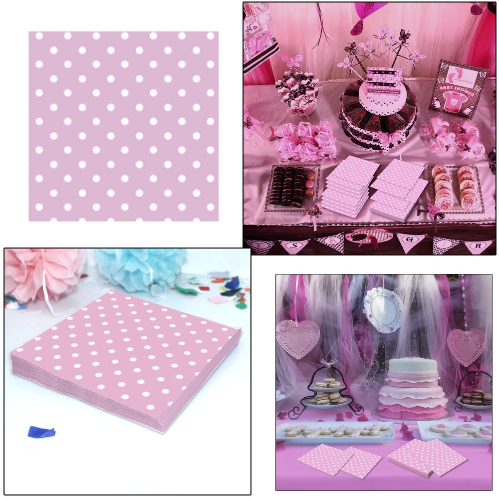 Weddings Birthdays Pink and White Polka Dot Party Napkins By Premium Disposables. 40 Count 6.5 X 6.5 Premium Luncheon Napkins Perfect For Parties Reunions And Much More