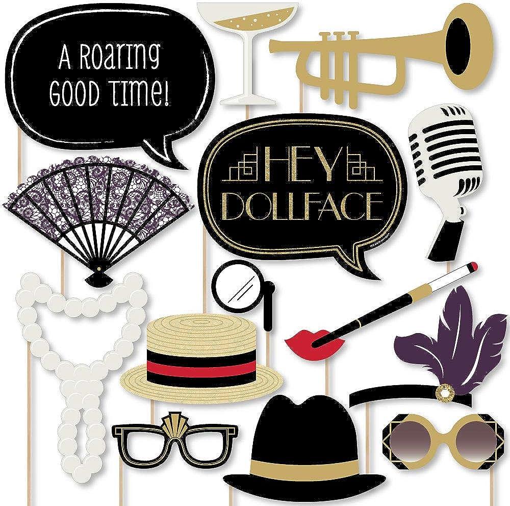 Big Dot of Happiness Roaring 20's - Twenties Art Deco Jazz 1920s Photo Booth Props Kit - 20 Count