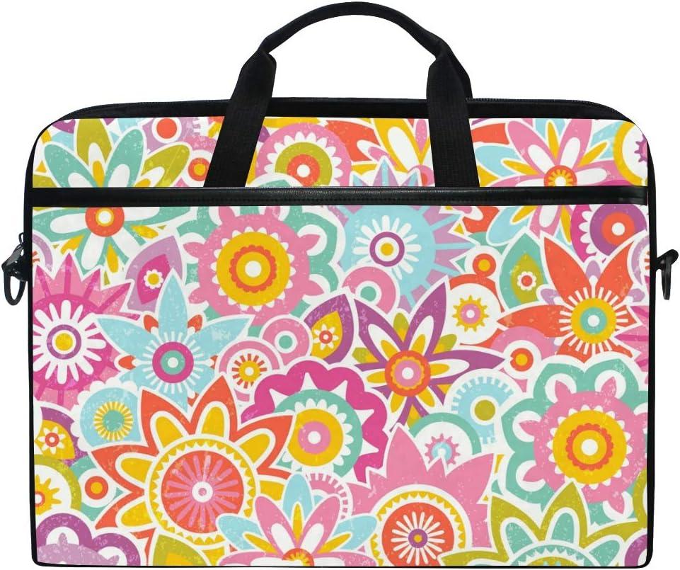 Stylized Flowers Laptop Shoulder Messenger Bag for 15 inch to 15.4 inch Laptop Notebook Computer Ultraportable Protective Velvet Handbag