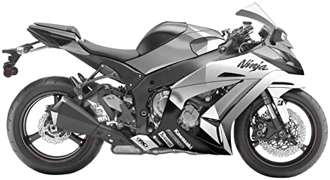 Factory Effex 15-15114-BW EV-R Series Black/White Complete Street Bike Graphic Kit for Kawasaki Ninja 650