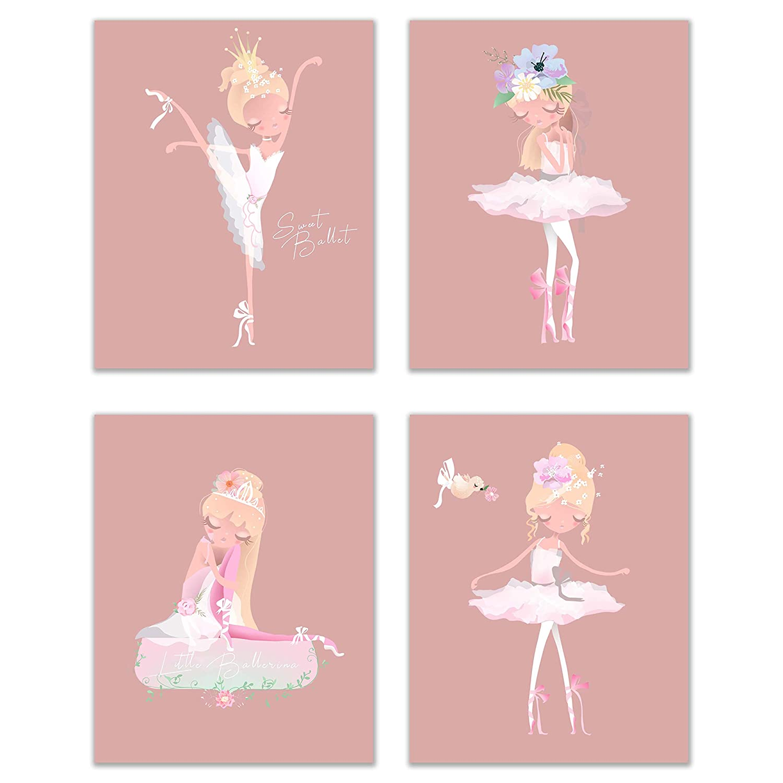 Little Ballerina Prints - Set of 4 (8x10) Glossy Adorable Girl's Bedroom Ballet Nursery Wall Art Decor