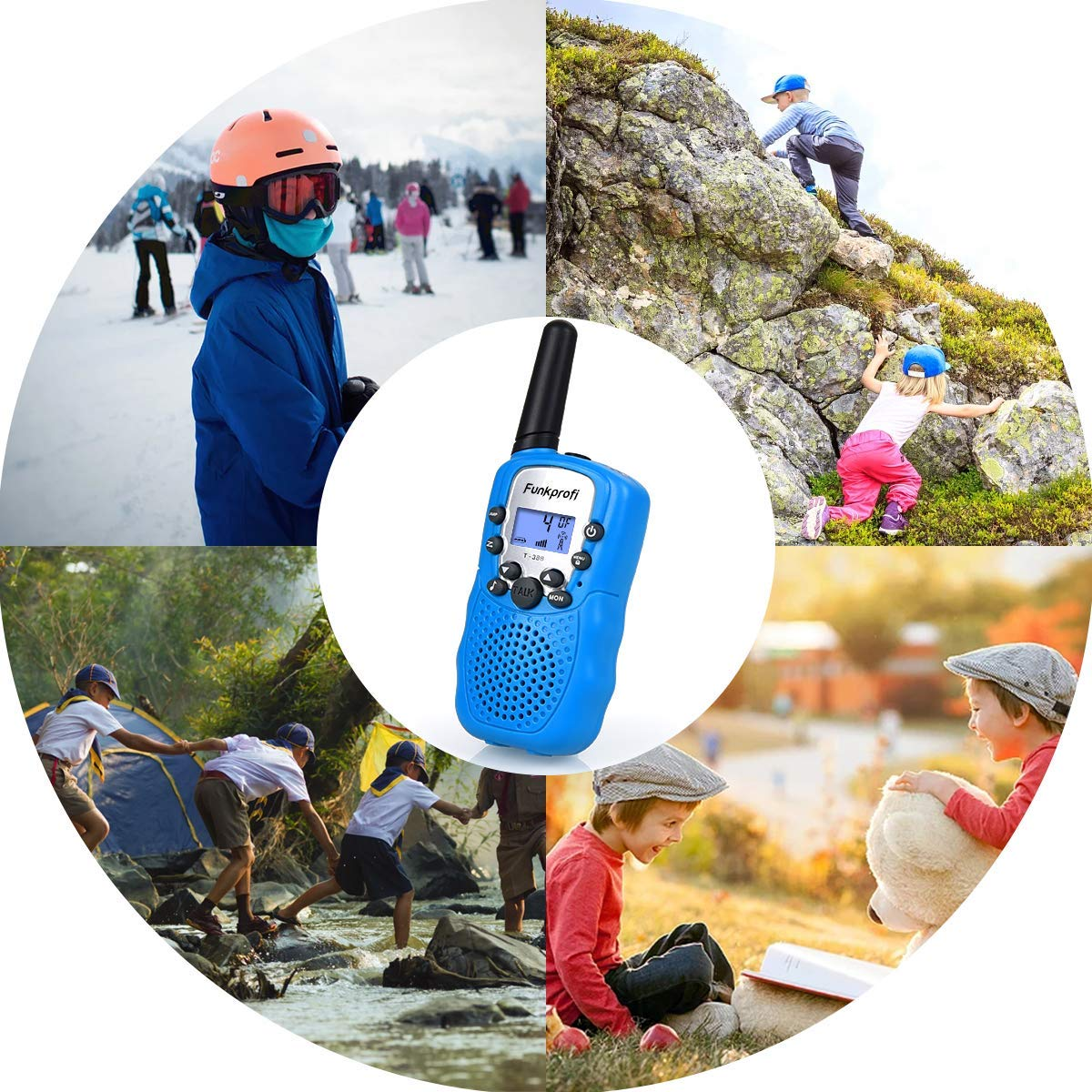 Funkprofi 3 Pack Walkie Talkies for Kids 22 Channel Uhf FRS/GMRS 2 Way Radio, Toy Gifts for Boys and Girls Birthday, Outdoor Adventure, Camping, Hiking by Funkprofi (Image #6)