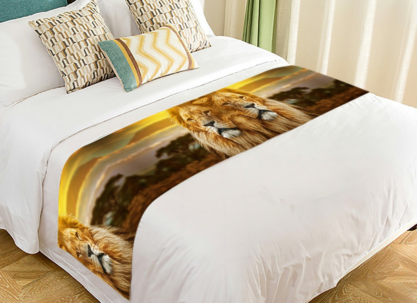 PicaqiuXzzz Custom Sunset Nuture Bed Runner, African Animal Lion on Savanna Landscape Bed Runners And Scarves Bed Decoration 20x95 inch