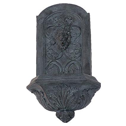 Amazon.com : Sunnydaze Decorative Lion Outdoor Wall Fountain, Lead ...