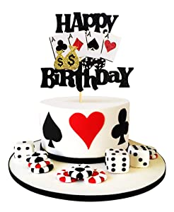 Keaziu 1 Pack Casino Cake Topper Poker Heart cake Toppers Playing Cards Vegas Theme Cupcake Toppers Decorations Poker Night Party Supplies