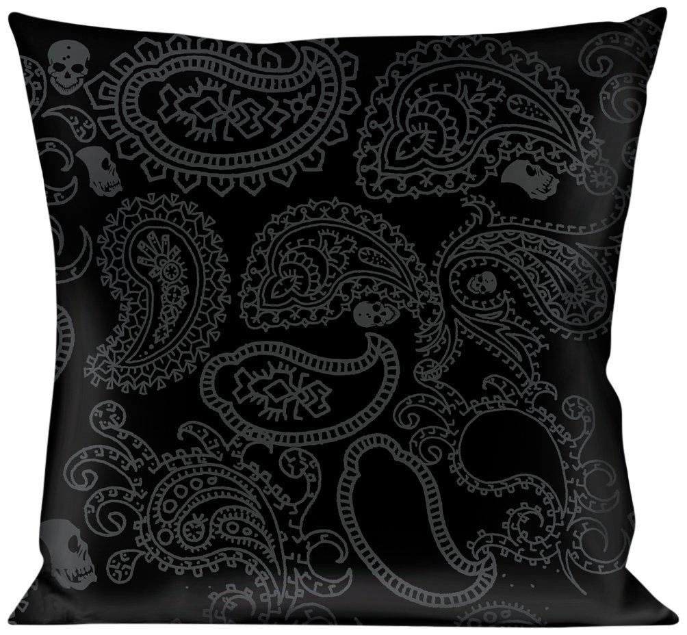 Multicolor Buckle Down Bandana//Skulls Black//Silver Throw Pillow