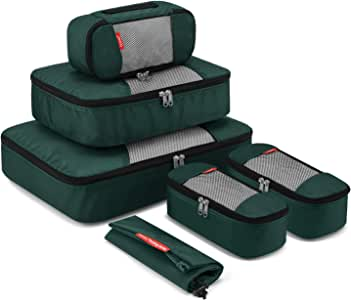 Travel Packing Cubes, Gonex Luggage Organizers L+M+3XS+Laundry Bag Dark Green
