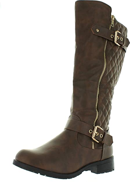 most popular factory price fashion style TOP Moda Women's Bally-32 Knee High Quilted Leather Riding Boot