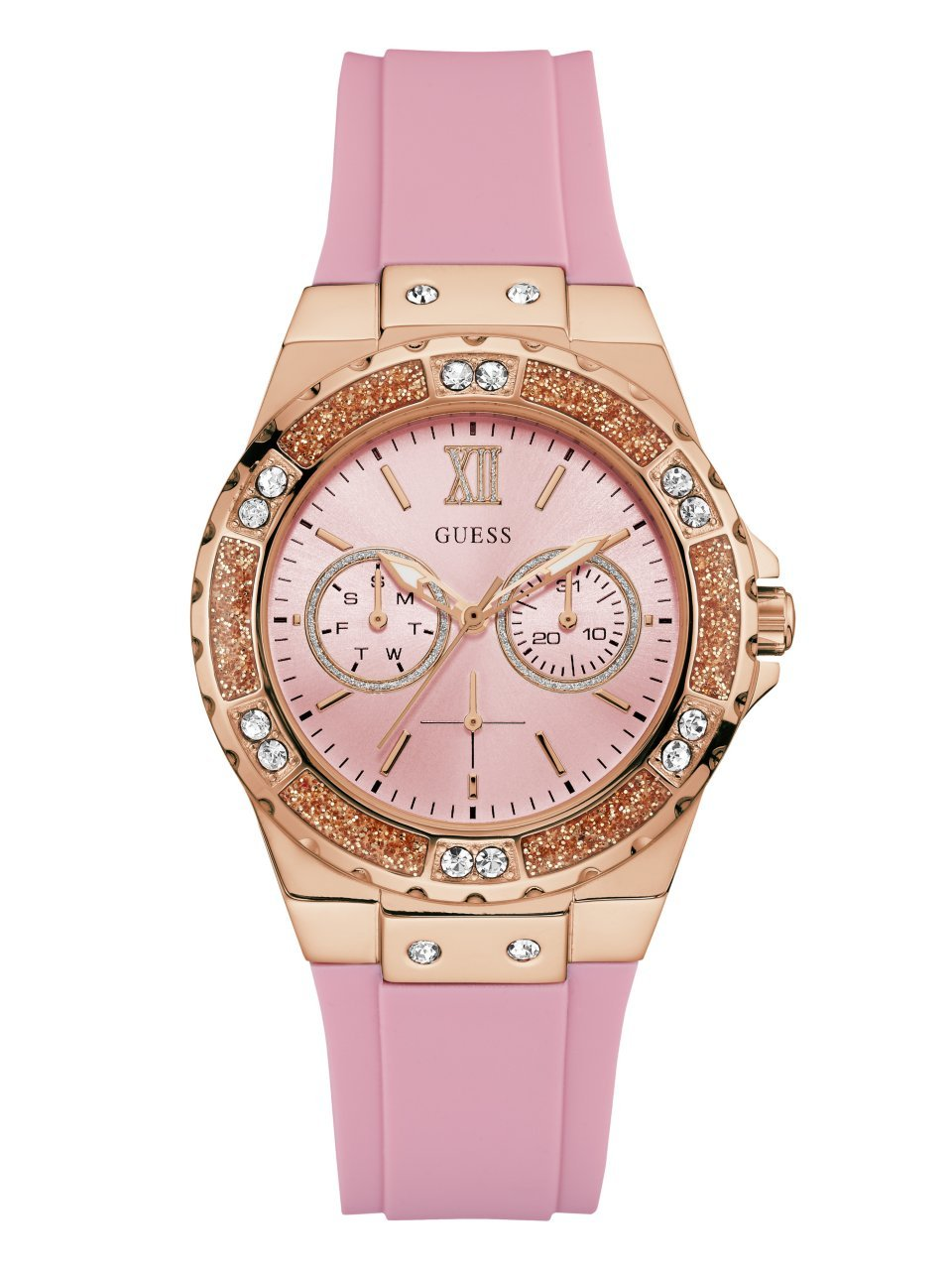 Guess Women's Stainless Steel Silicone Crystal Accented Watch, Color Pink/Rose Gold-Tone (Model: U1053L3)