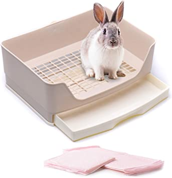 PINVNBY Large Rabbit Litter Box Bigger Pet Litter Pan Trainer with Drawer Corner Toilet Box for Adult Guinea Pigs Chinchilla Ferret Hedgehog Small Animals