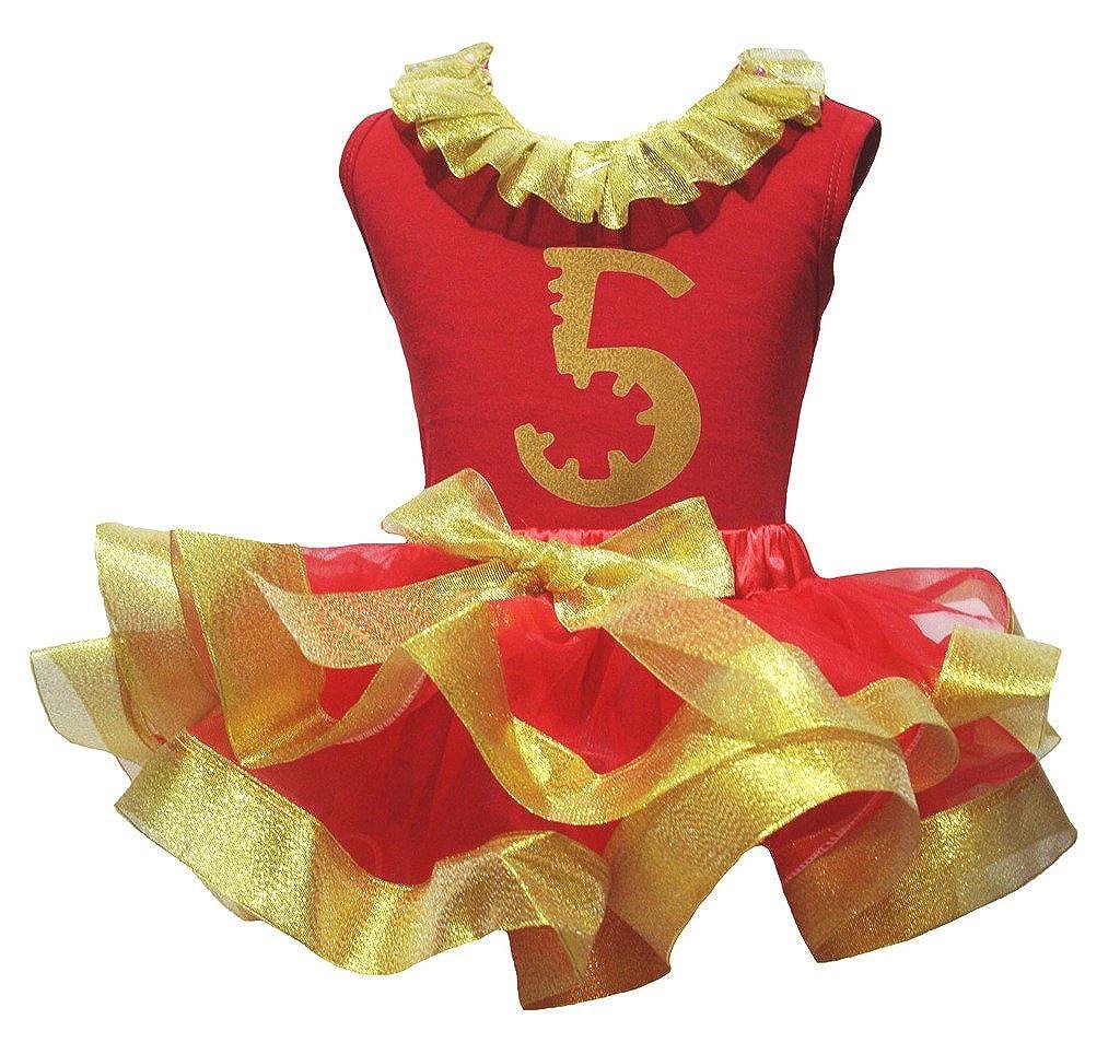 Petitebella Gold Five 5th Paint Red Shirt Petal Skirt Gold Ribbon Girl Set Nb-8y