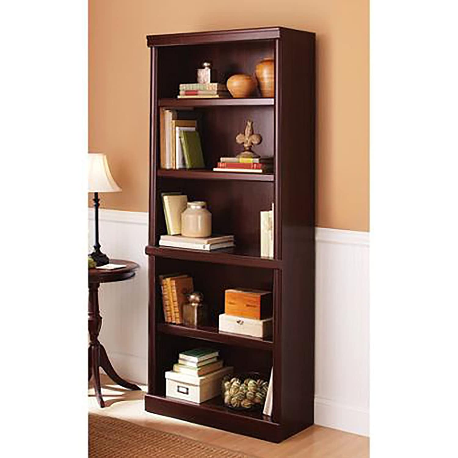 Design Display Bookshelf amazon com 5 shelf cherry bookcase wooden book case storage shelves wood bookshelf library kitchen dining