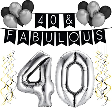 40 Fabulous Birthday Party Pack Black Silver Happy Bunting Balloon