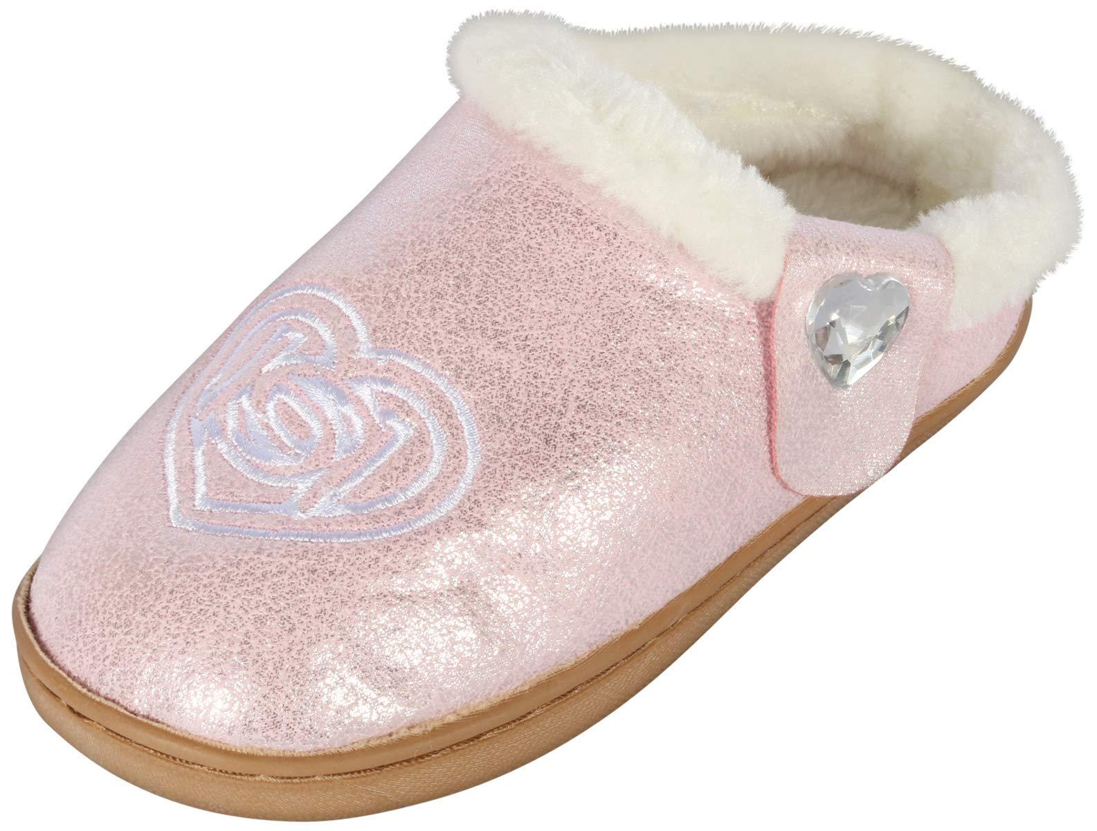 bebe Girl's Shimmery Faux Fur Slipper with Side Heart Jewel, Light Pink, 13-1 M US Little Kid'