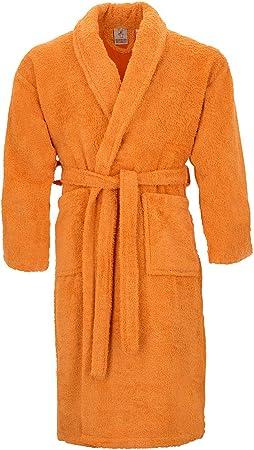 Burrito Blanco Albornoz de Ducha Liso para Hombre y Mujer con Cuello de Esmoquin Talla XL, Naranja: Amazon.es: Hogar