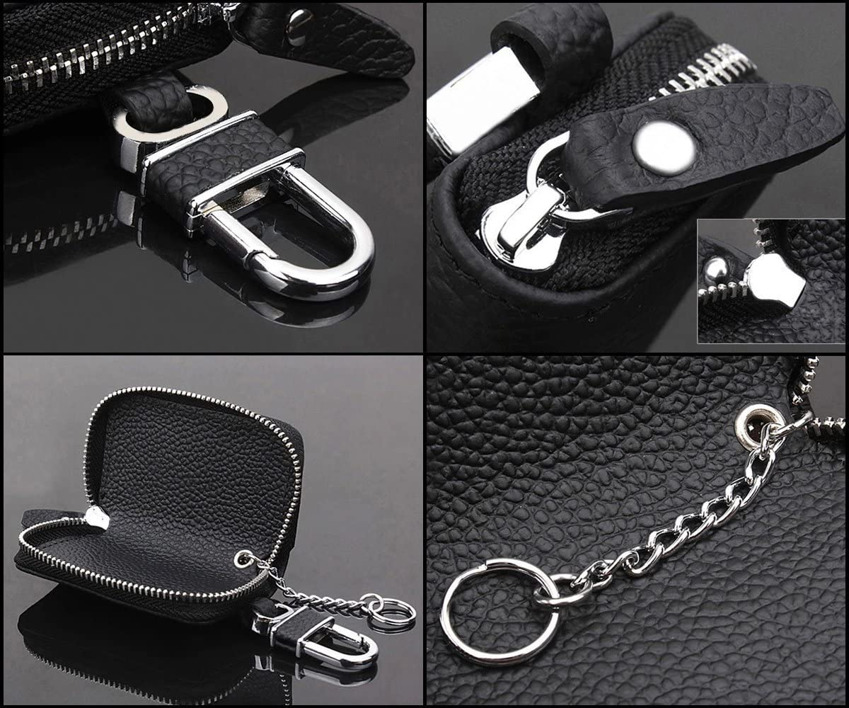 Altopcar Car Key Chain Bag Key Chains Genuine Leather Smart Keychain Coin Holder Case Cover Pouch Remote Fob Bag Keyring Wallet Zipper Case Black