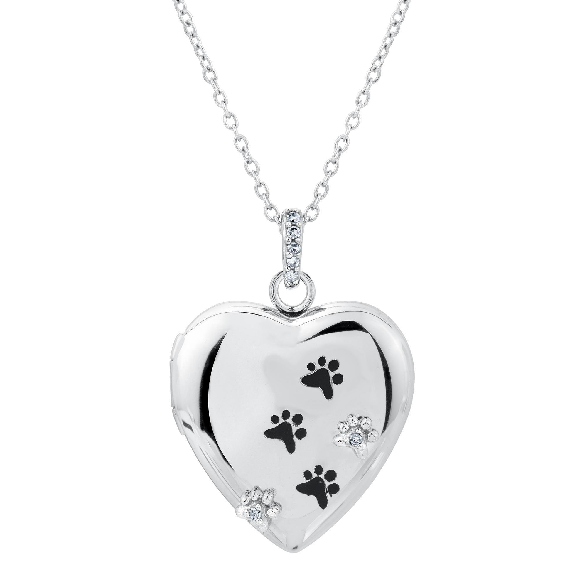 ASPCA TenderVoices Diamond Paw Print Heart Locket 1/20ctw